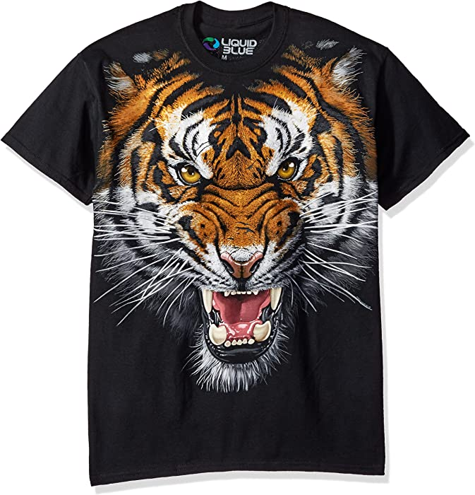 668eca86 Amazon.com: Liquid Blue Men's Tiger Face T-Shirt, Black, Medium ...