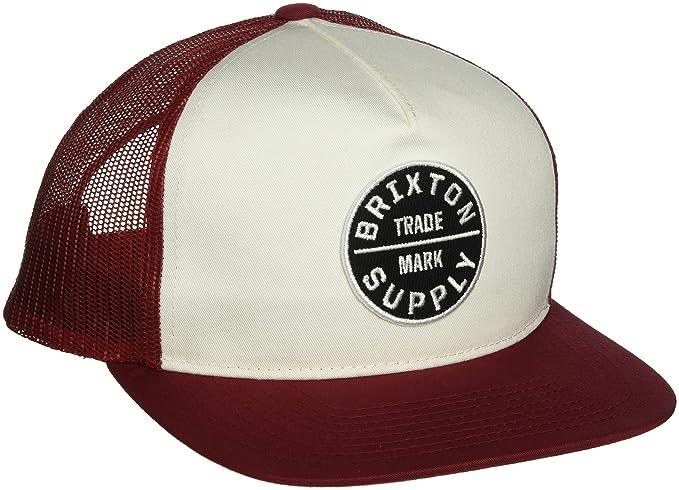 a7e8c12e98b37 Brixton Men's Oath III Medium Profile Adjustable Mesh Hat, Burgundy/White,  ...