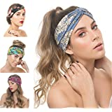 OSATTIA 4 Pack Women Boho Headband Floral Style Knot Bohemian Hairwrap Flower Printing Twisted Criss Cross Stretchy…