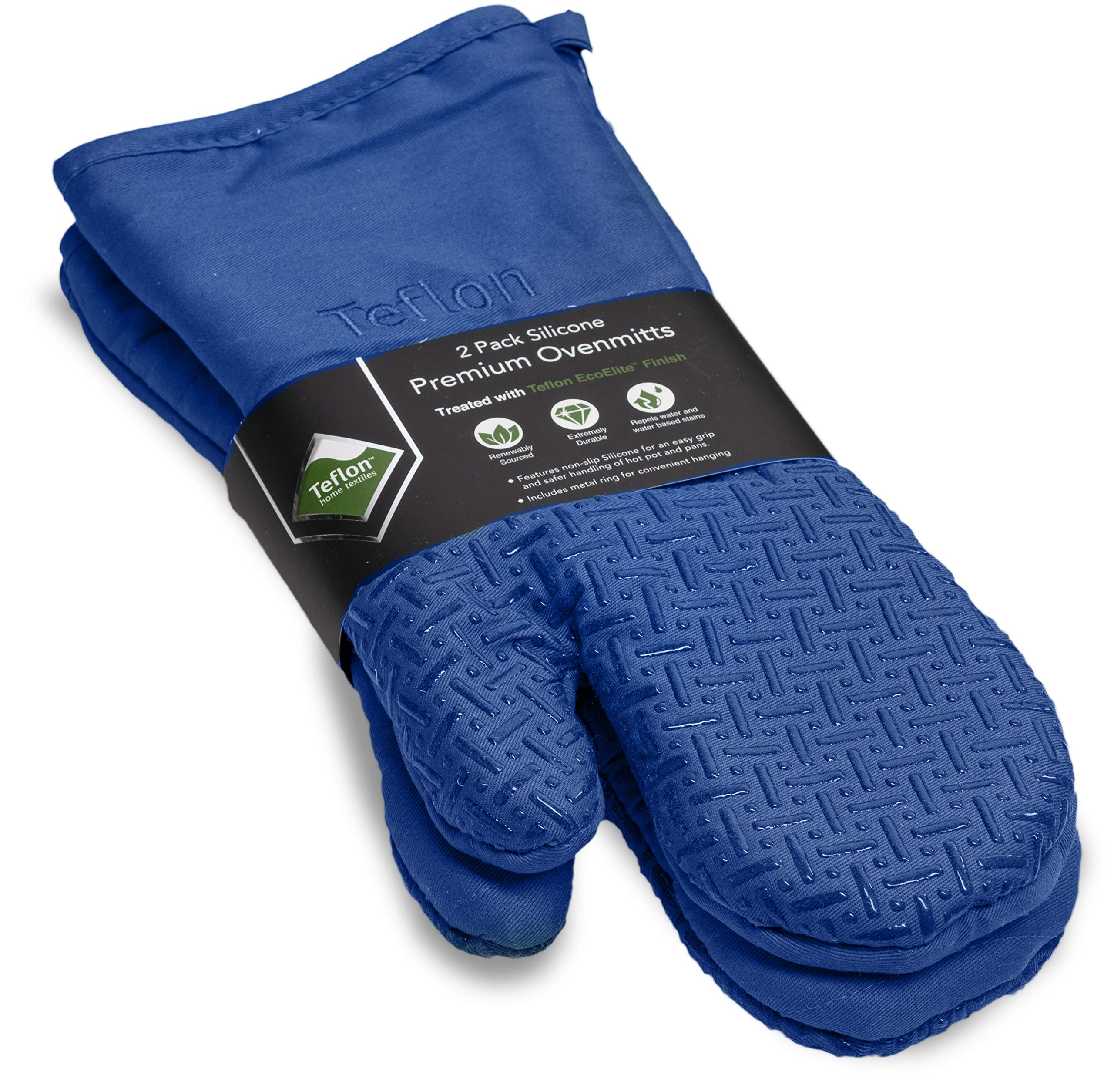 XLNT Blue Premium Non Slip Silicone Oven Mitts, Heat Resistant, with Teflon Eco Elite Finish, Hanging Loop, Great for Home Baker Or Commercial Chef Use by XLNT