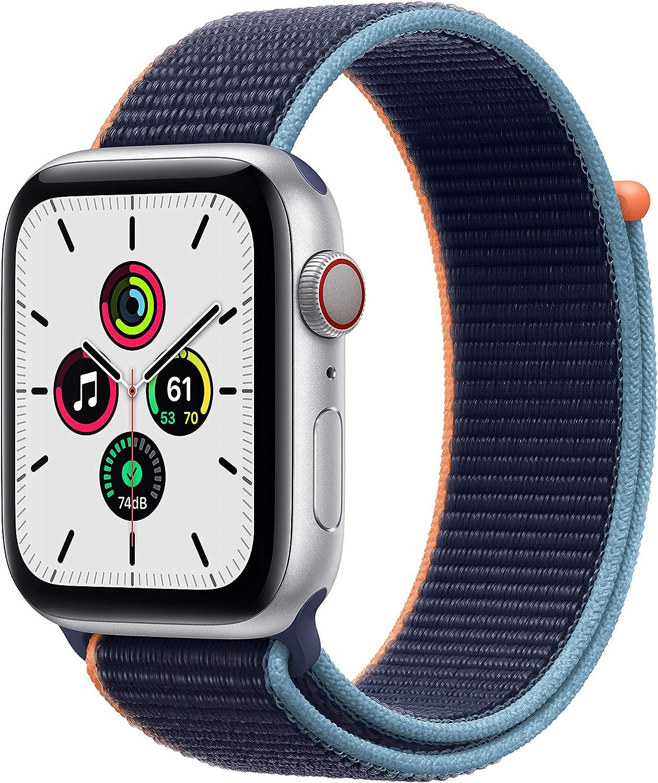 AppleWatch SE (GPS+Cellular, 44 mm) Caja de aluminio en plata- Correa Loop deportiva azul marino intenso