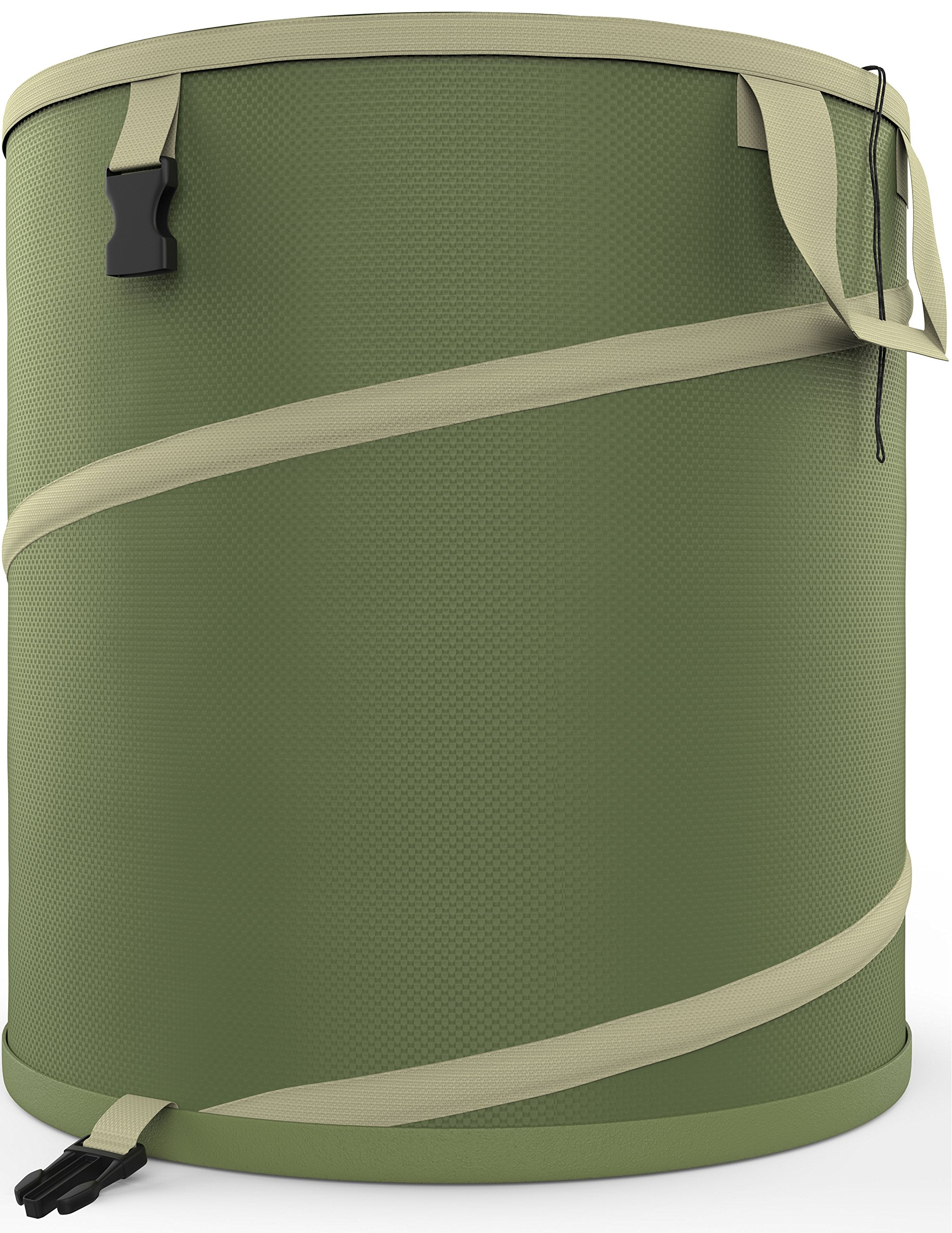 Vremi 30 Gallon Pop Up Garden Bag - Reusable Gardening Lawn and Leaf Bags - Collapsible Canvas Portable Yard Waste Bag with Drawstring Top - Green by Vremi
