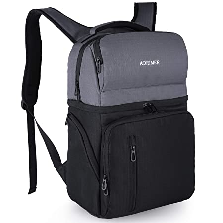 ADRIMER Insulated Cooler Backpack Leakproof Double Decker Backpack with Cooler Compatment Lunch Cooler Backpack with Anti-Theft Pocket for Men Women to Picnics, Travel, Hiking, Beach Trip, Them Park