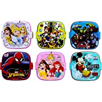 Laxmi Collection Perpetual Blisstm Fancy Double Layer Disney Theme Square Lunch Box for Kids,Gifts for Kids,13x13x10-cm(Multicolour) - Pack of 6