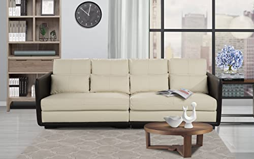 Classic 2 Piece Convertible Living Room Leather Sofa, Adjustable Couch Beige