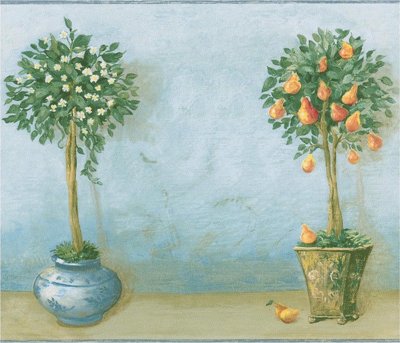 Fruit Trees In Beautiful Retro Pots Teal Wallpaper Border Vintage Design Roll 15 X 7 Amazon Com