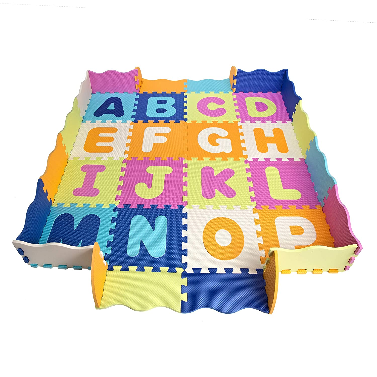 Baby Play Mat with Fence, Foam Letters, and Tiles - Playmat for Kids, Toddlers, and Infants. Tummy Time and Activity Gym Floor playpen. 56x 56, Over 74 Across! Over 74 Across! Wonder Bebe