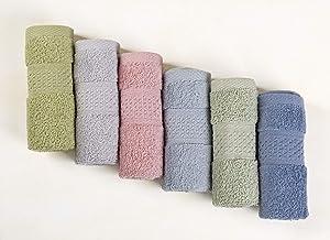 Cleanbear Pure Cotton Wash Cloths Face Cloths, 6 Colors per Set, 13 x 13 Inches (Light Blue, Jade Green, Light Green, Grey, Light Grey, Pink)