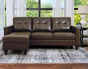 Abbyson Living Reversible Chaise Lounge Leather Sectional Sofa, Dark Brown