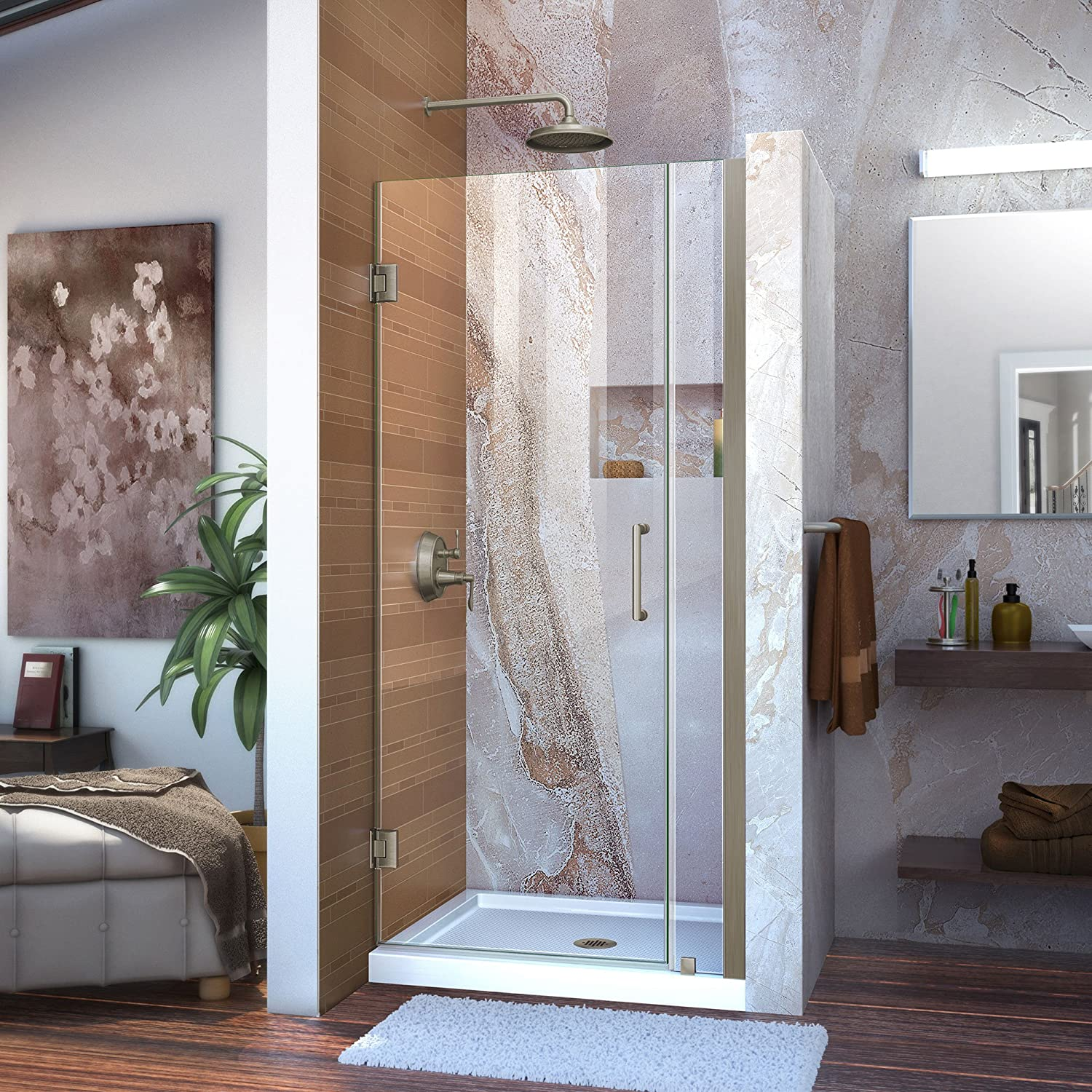 DreamLine Unidoor 32-33 in. W x 72 in. H Frameless Hinged Shower Door in Brushed Nickel, SHDR-20327210-04