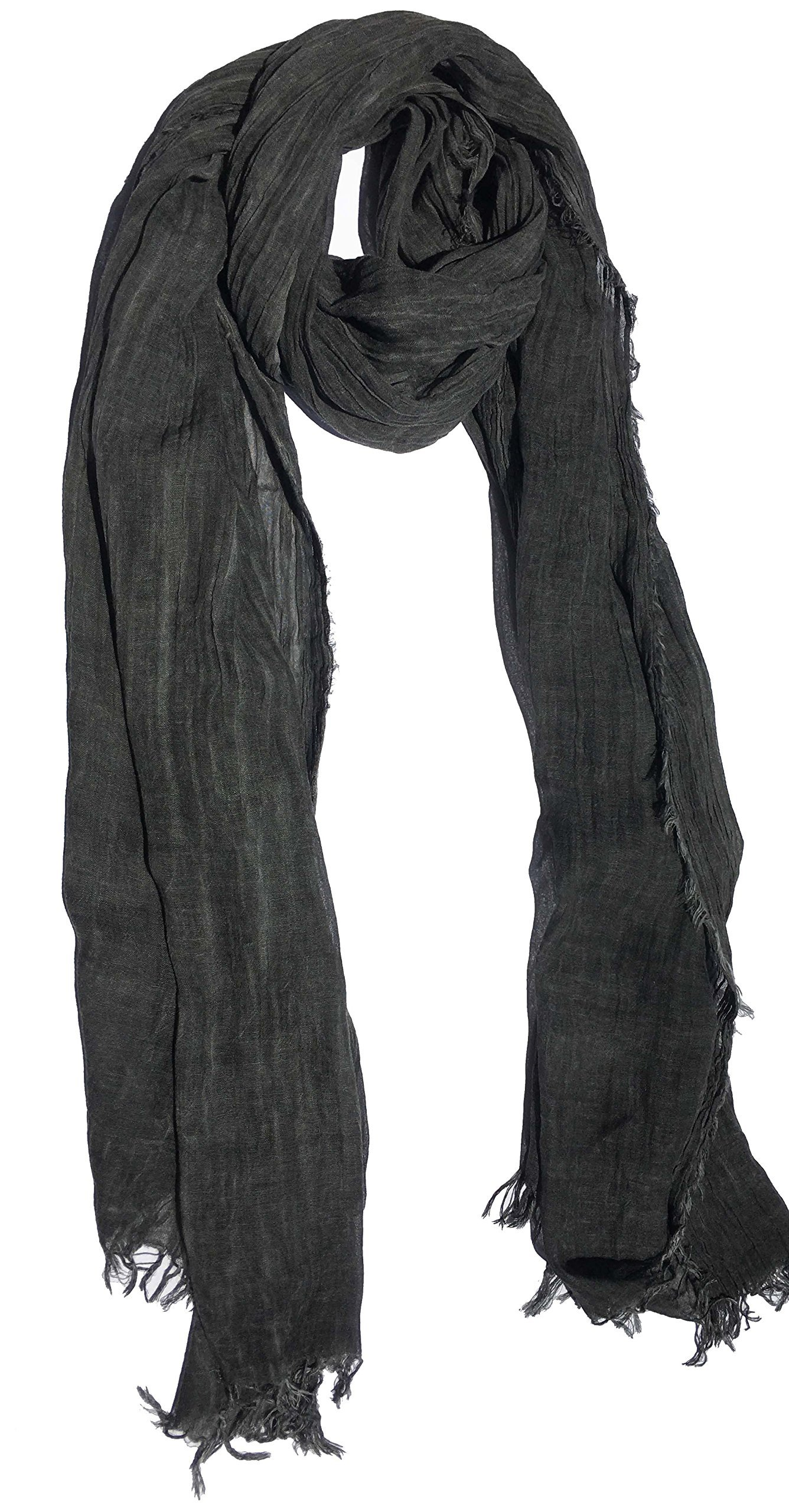 100% Pure Natural Cotton, No Synthetic Fibers, Unisex, Scarves - Multi Colors/Styles (Charcoal Gray)