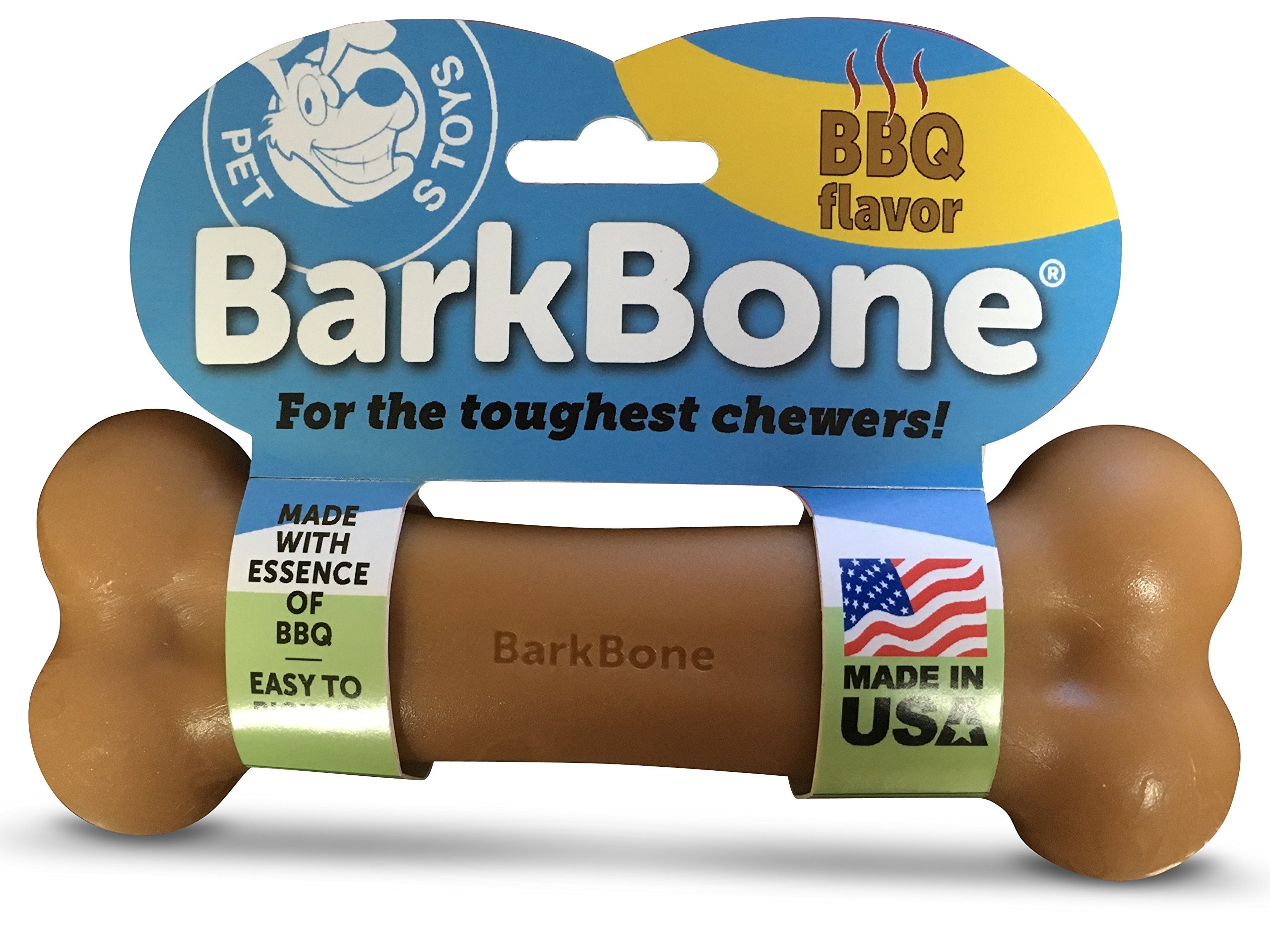 Pet Qwerks BBQ BarkBone Dog Chew Toys for Aggressive Chewers, Made in USA