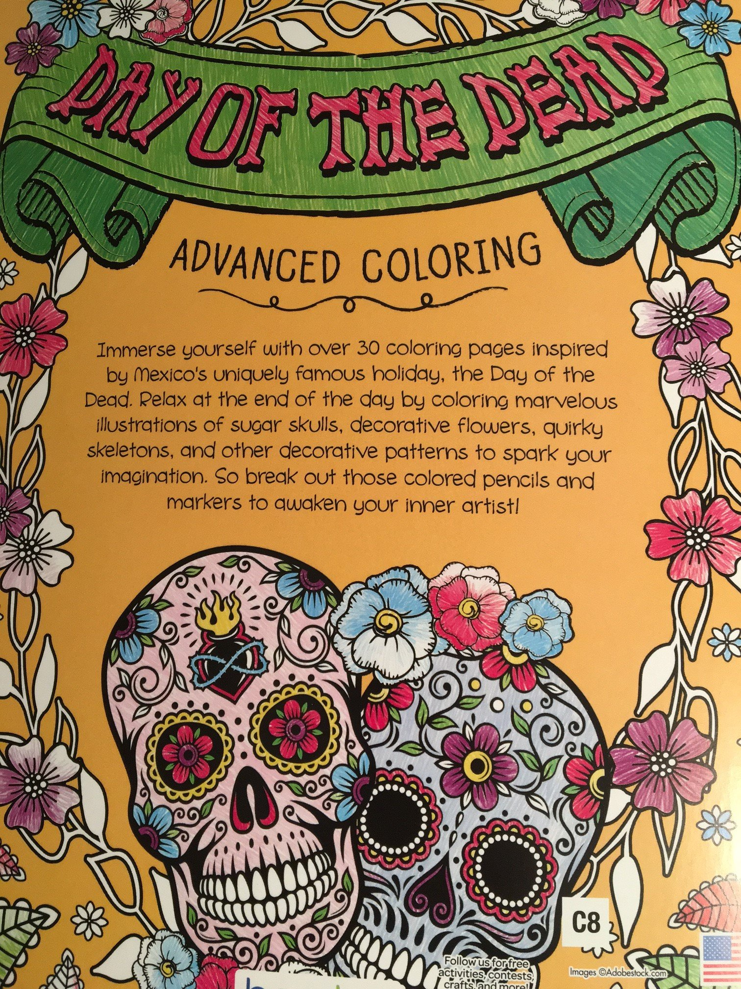 day of the dead advanced coloring book bendon