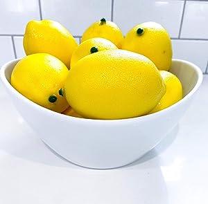 Fake Lemons Lemon Decor for Kitchen Faux Fake Fruit, Lemons Organic Decoration, Faux Lemons for Decoration Craft Supplies by So Cal Pro