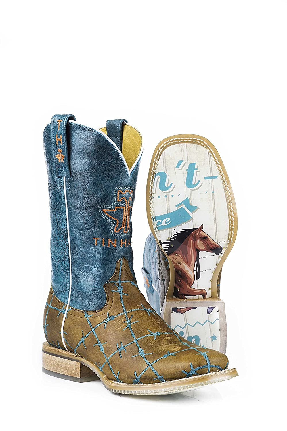 Tin Haul Shoes Women's Barb'd Wire Western Boot B00U05LWYI 6.5 B(M) US|Brown/Turquoise