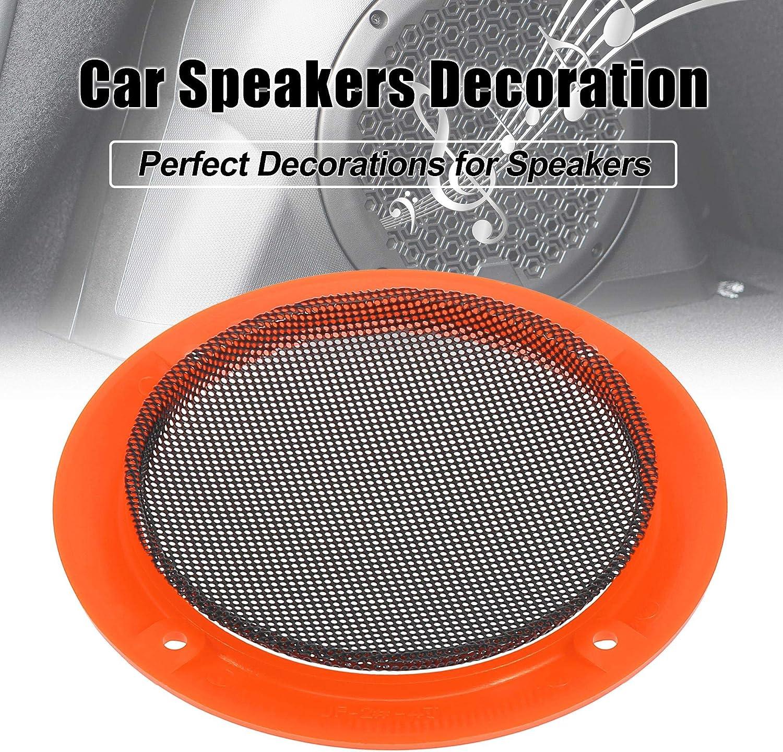 X AUTOHAUX 2pcs 4 Orange Car Audio Speaker Cover Mesh Subwoofer ...