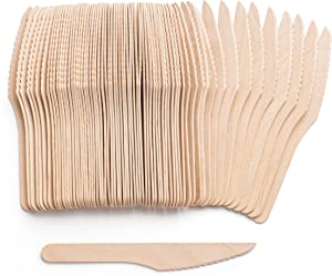 Compostable Wood Cutlery [100% Wood Kives] Natural Eco-Friendly Sustainable Alternative to Plastic, Disposable Knife Set [Pack of 100]