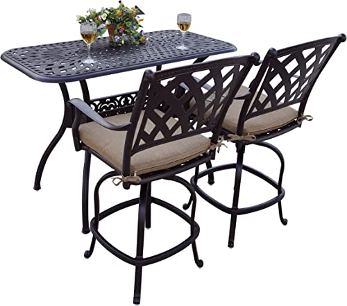 Darlee 3 Piece Ocean View Cast Aluminum Counter Height Bar Set with Seat Cushions, 26 x 52 , Antique Bronze Finish