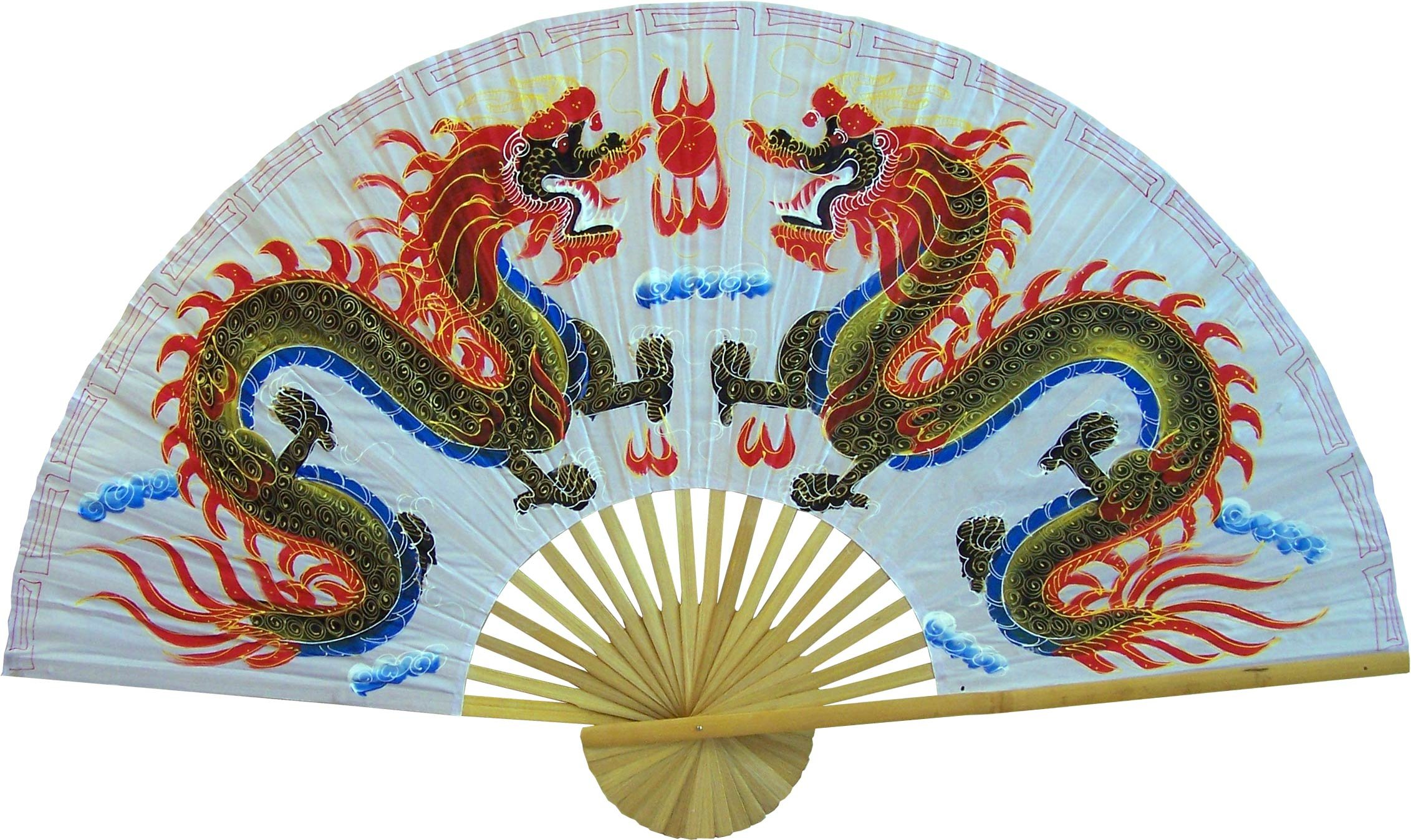 Large 60'' Folding Wall Fan - White Dragons - Original Hand-painted