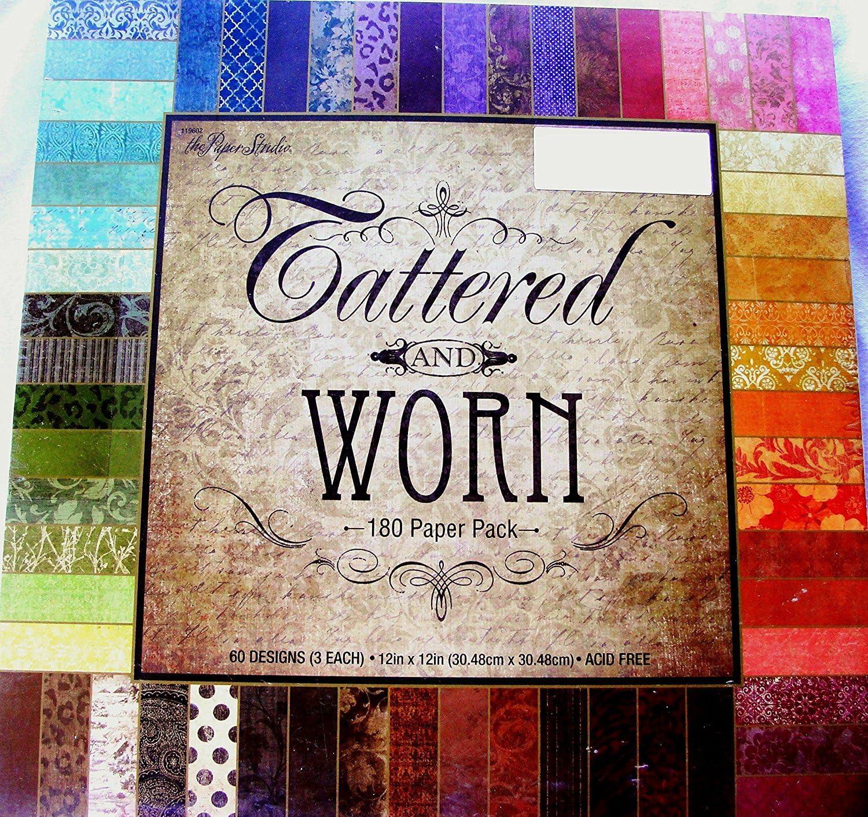 Tattered & Worn 12x12 Scrapbooking Paper Pack, 180 Sheets, Vintage, Damask, Floral, Foliage, Dots by Paper Studio: Amazon.es: Hogar