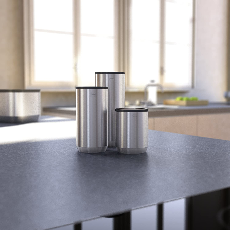 Hailo KitchenLine Design Plus Vorratsdose 1l, gebürstetes Edelstahl, luftdicht schließender Deckel mit Sichtfenster, lebensmittelecht, 0833 100