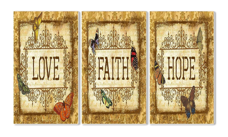 Amazon.com: Stupell Home Décor Love, Faith, Hope Tapestry 3-Piece ...