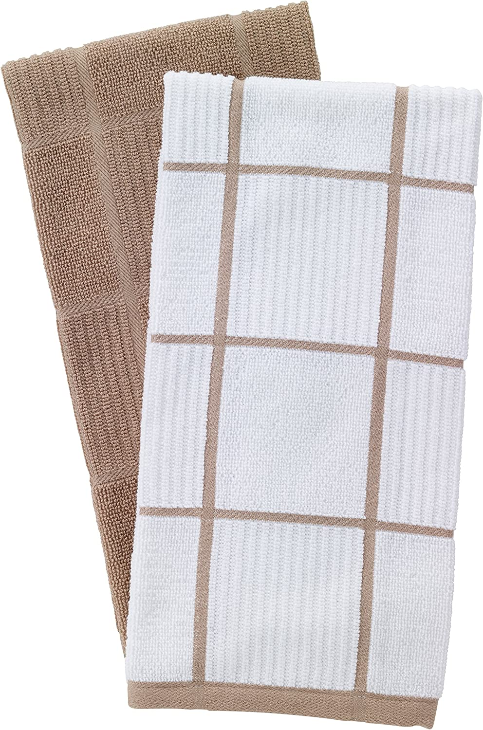 T-Fal Textiles 60959 2-Pack Solid & Check Parquet Design 100-Percent Cotton Kitchen Dish Towel, Sand, Solid/Check-2 Pack
