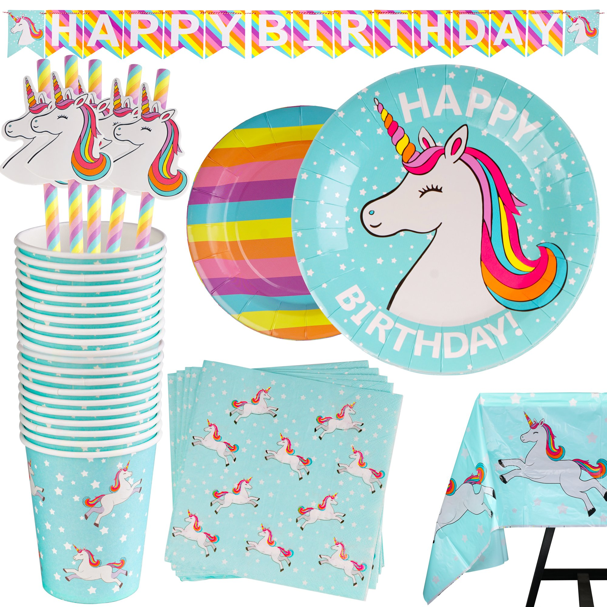102 Piece Rainbow Unicorn Party Supplies Set Including Banner, Plates, Cups, Napkins, Straws, and Tablecloth, Serves 20 by Scale Rank