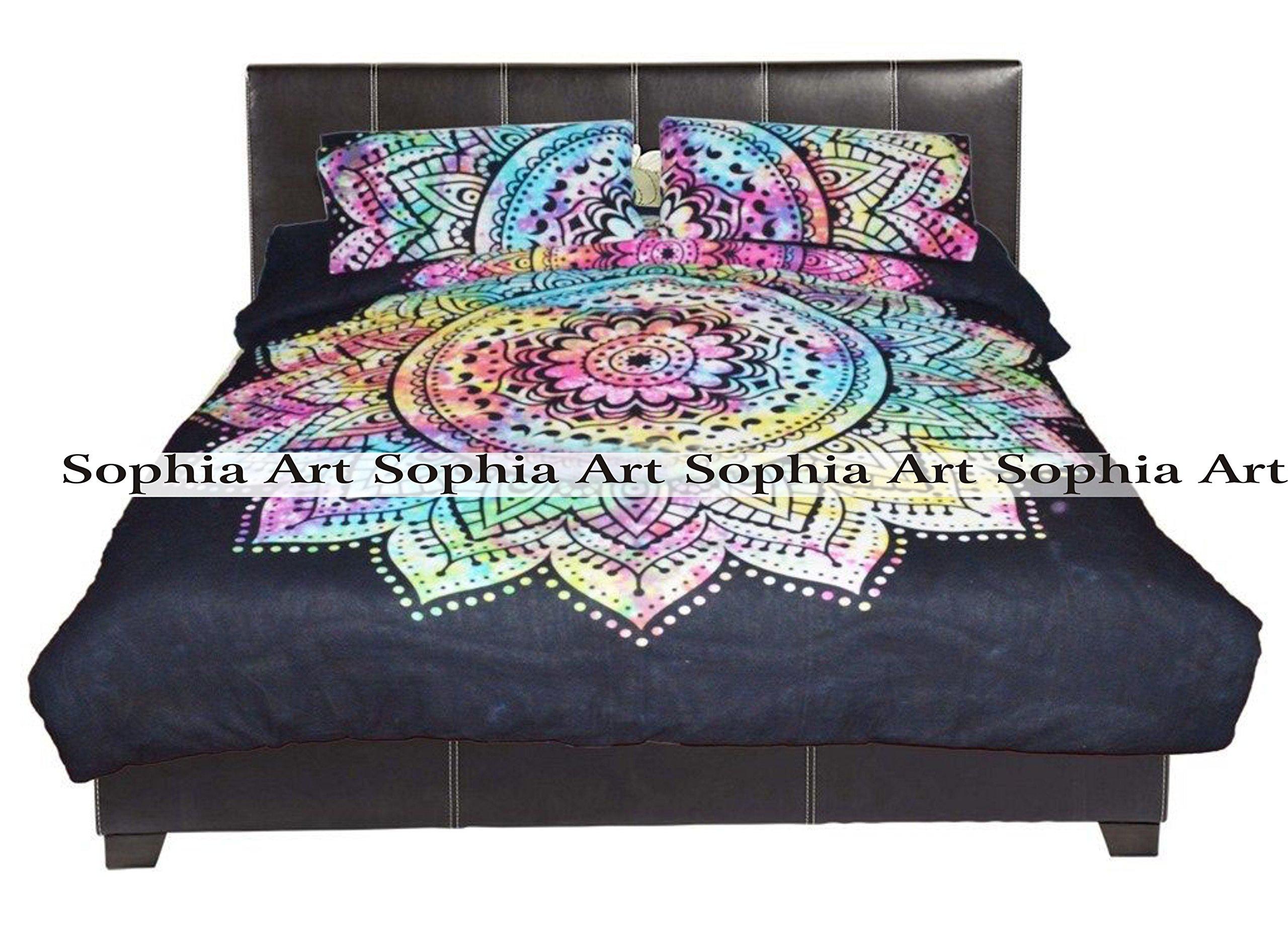 Sophia Art Exclusive Tye & Dye Flower ombre Duvet Doona Quilt Cover Comforter Indian Ombre Mandala Hippie Bohemian Queen Set With Pilow Cover
