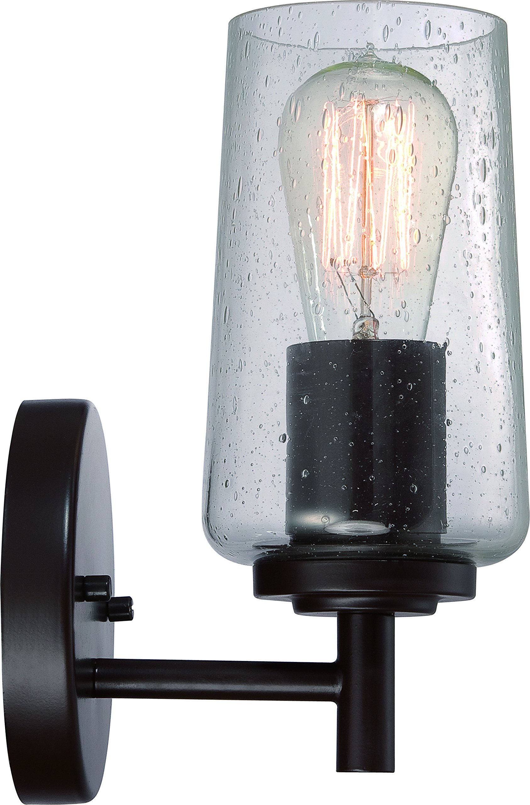 Luxury Vintage Indoor Wall Light, Small Size: 10'' H x 5'' W, with Antique Style Elements, Elegant Estate Bronze Finish and Seeded Glass, Includes Edison Bulb, UQL2270 by Urban Ambiance