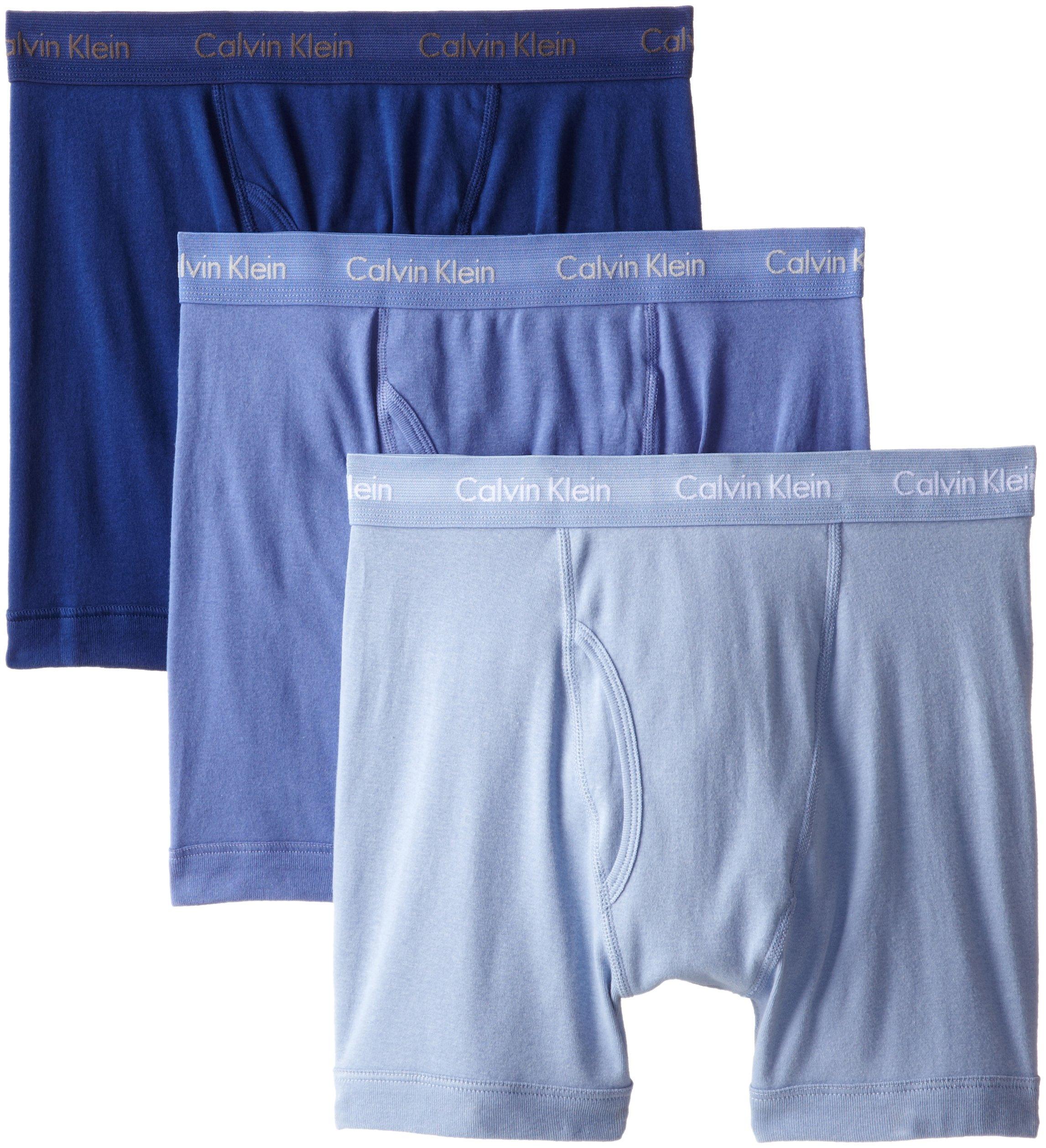 Calvin Klein Men's Underwear Cotton Classics Boxer Briefs - Medium - Blue Assorted (Pack of 3)