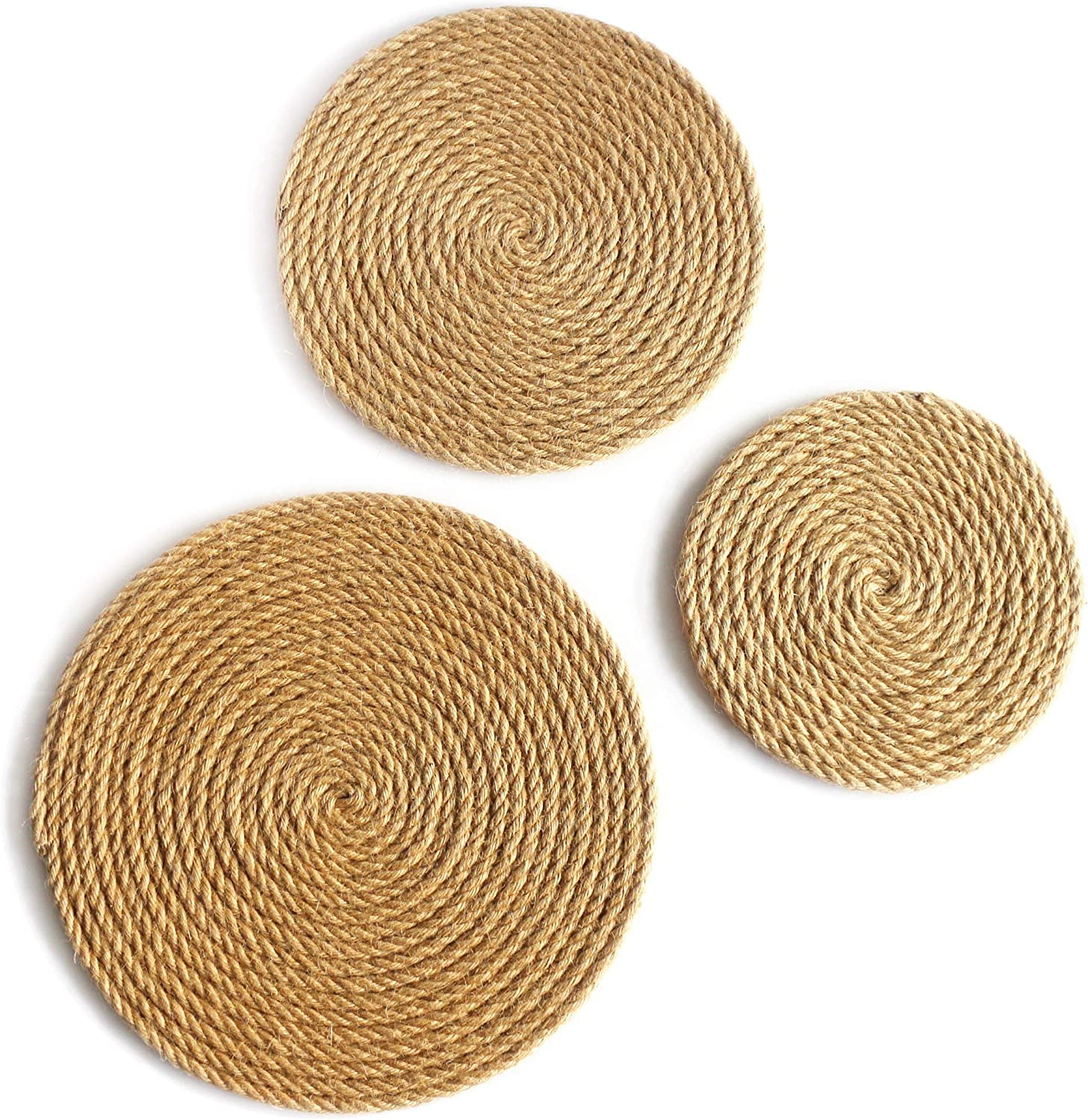Amazon Com Cvhomedeco Rustic Hemp Rope Round Disc For Wall Hanging Indoor Diy Art Sculptures Home Office And Hotel Primitive Country Style Decor Set Of 3 12 10 8 Inch Everything Else