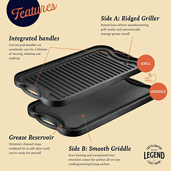 Cast Iron 2 in 1 Grill Griddle GRILL /& MORE Essentials Two-sided Grill Plate