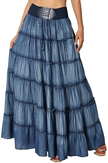 7 faldas largas de estilo cintura alta que están de moda esta ... f5bc53929720
