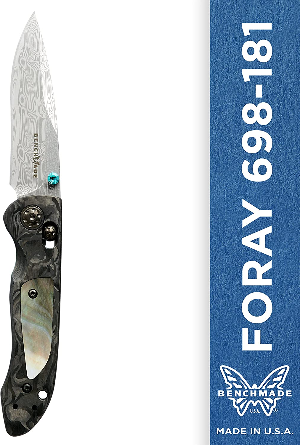 Benchmade – Foray 698-181 EDC Manual Open Gold Class Folding Knife Made in USA, Drop-Point Blade, Plain Edge, Damasteel Finish, Marbled Carbon Fiber Handle