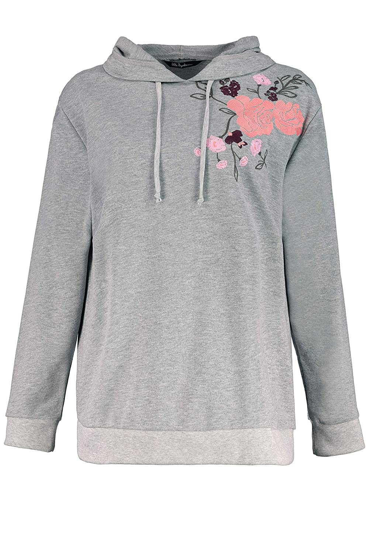 Ulla Popken Womens Plus Size French Terry Embroidered Sweatshirt 719157