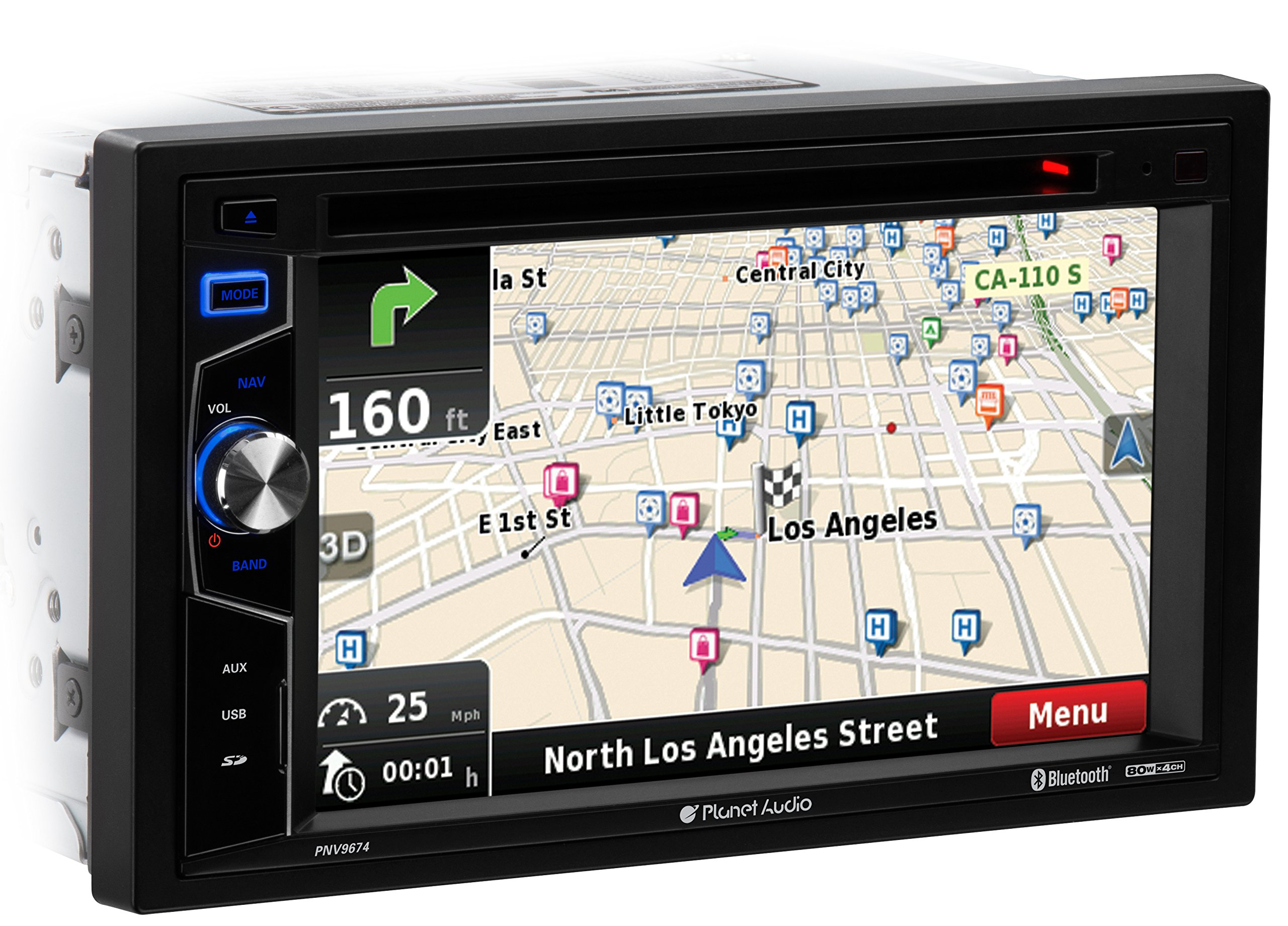 Planet Audio PNV9674 Double Din, Touchscreen, Bluetooth, Navigation, DVD/CD/MP3/USB/SD AM/FM Car Stereo, 6.2 Inch Digital LCD Monitor, Wireless Remote