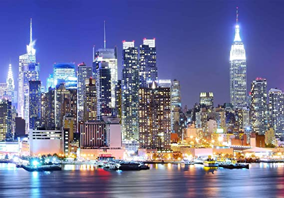 9x6ft Beautiful New York Night Cityscape Polyester Photography Backdrop Skyscrapers Rush Hour Traffic Modern City Background Dusk Sky Bright Street Lamp Film Studio Prop Video Shoot Postcard