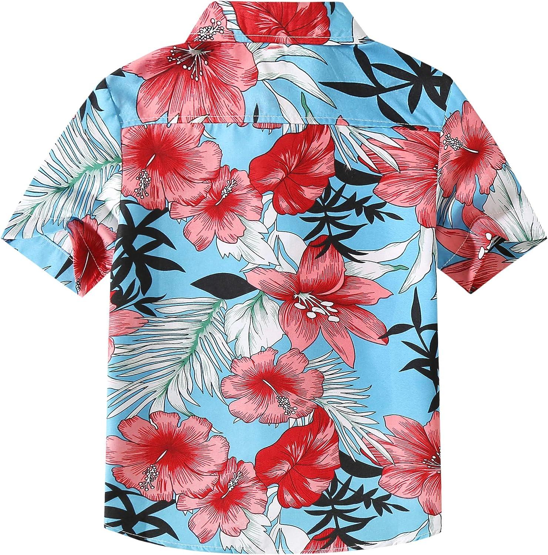 SSLR Jungen Flamingos Button-down-beil/äufige kurze H/ülsen-hawaiihemd