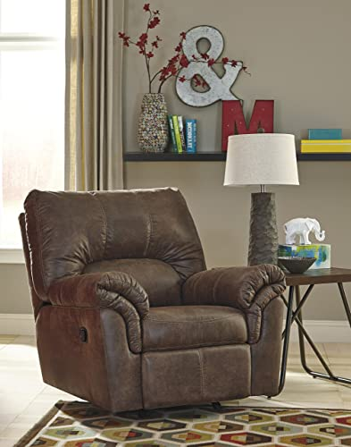 Signature Design by Ashley – Bladen Contemporary Plush Upholstered Rocker Recliner – Pull Tab Reclining, Coffee Brown