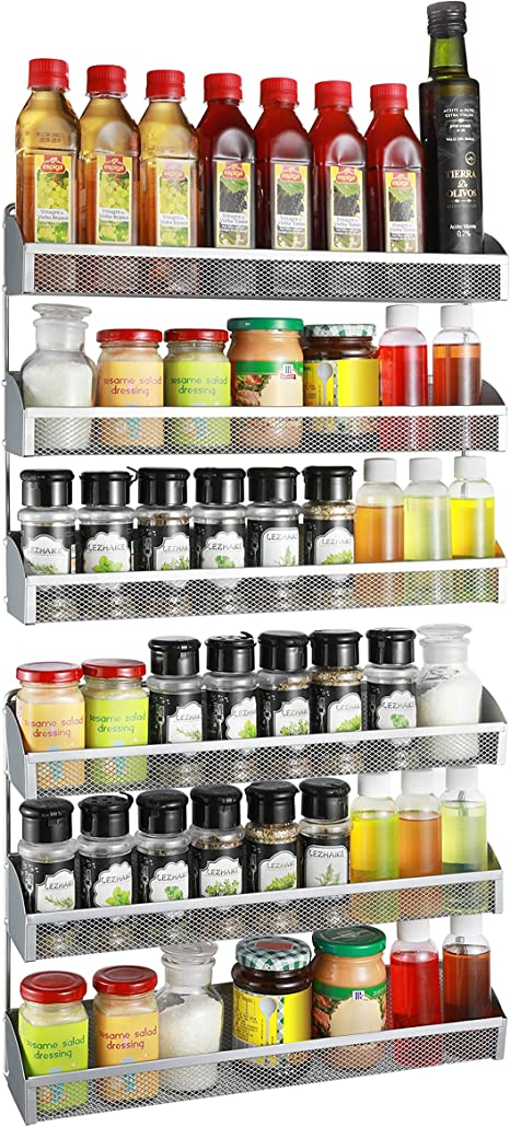 Amazon Com 2 Pack Simple Trending 3 Tier Spice Rack Organizer Wall Mounted Spice Shelf Storage Holder For Kitchen Cabinet Pantry Door Silver Home Improvement