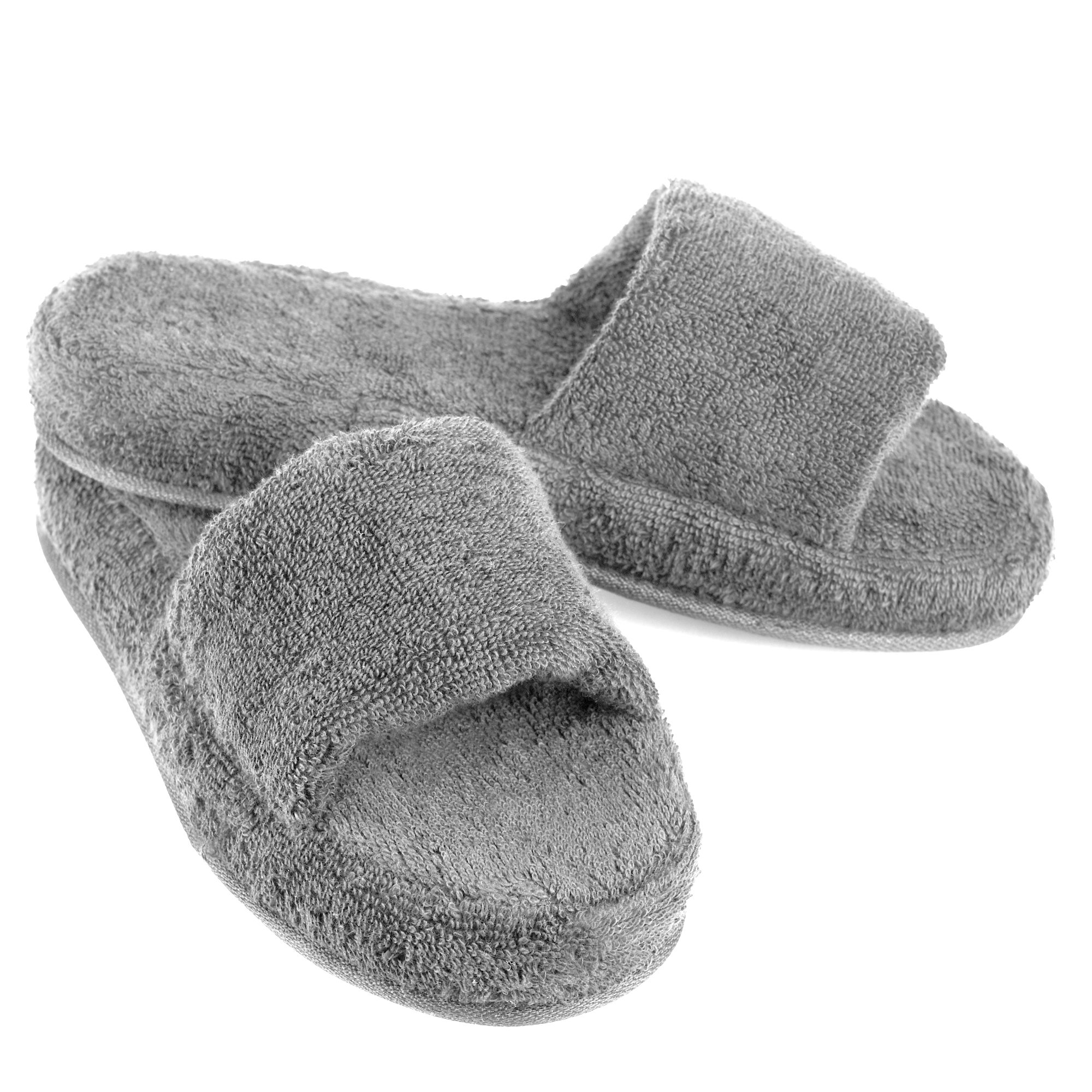 EuropeanSoftest Women Cozy Memory Foam 100% Turkish Terry Cotton Cloth Open Toe Spa House Indoor Slipper (X-Large/11-12 B(M) US, Gray) by EuropeanSoftest