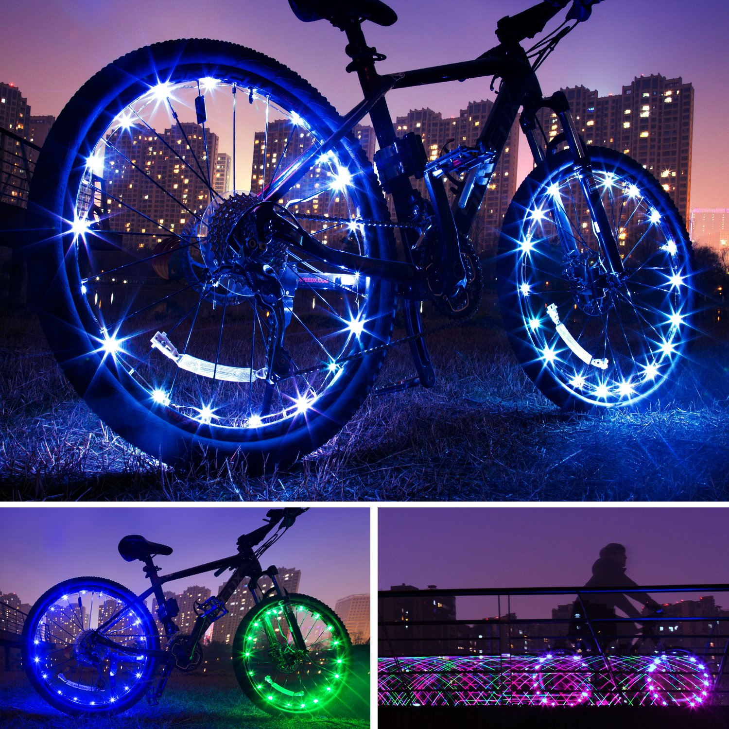 Exwell Bike Wheel Lights, 7 Colors in 1 Bike lights,Safety at Night,Switch 9 Modes LED Bike Accessories Lights, USB rechargeable 1 PACK by Exwell (Image #3)