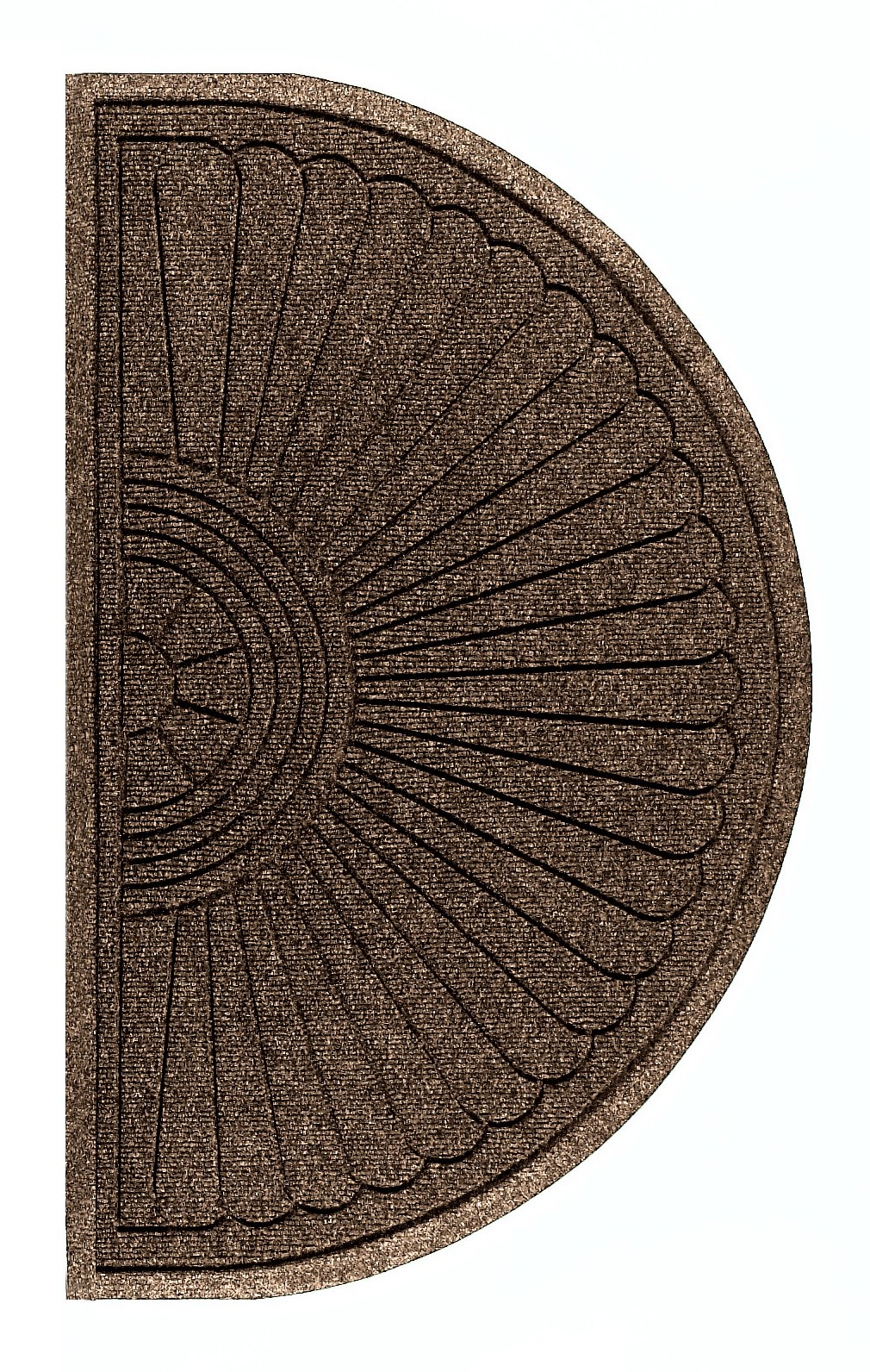 Andersen 2246 Waterhog Eco Grand Premier PET Polyester Fiber Half Oval Entrance Indoor/Outdoor Floor Mat, SBR Rubber Backing, 3.3' Length x 6' Width, 3/8'' Thick, Chestnut Brown by The Andersen Company
