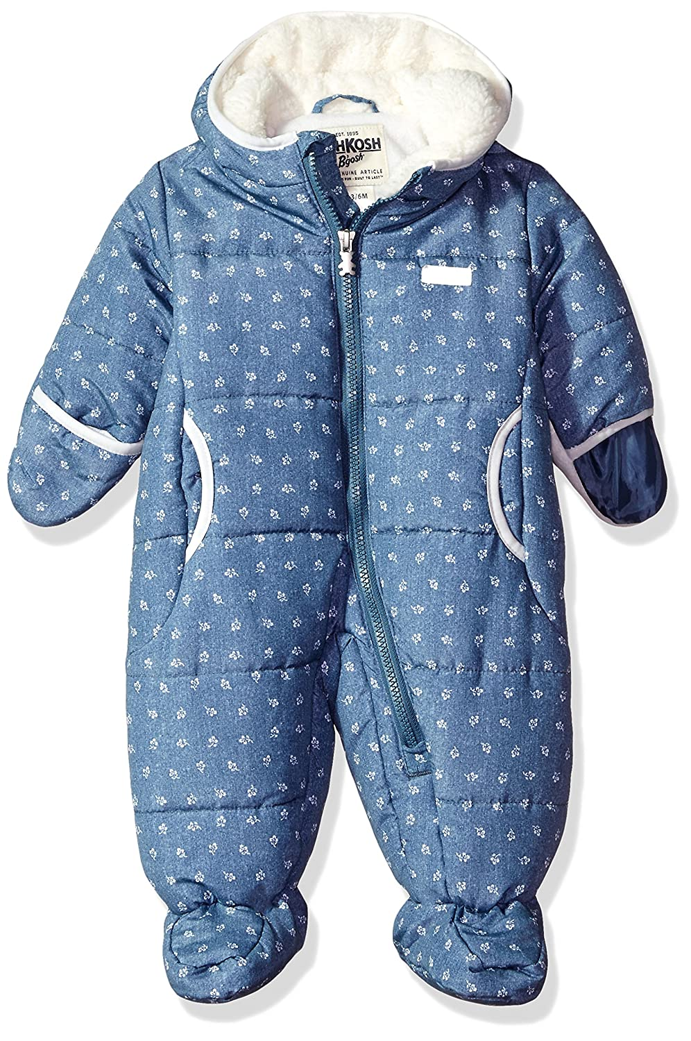 Osh Kosh Baby Boys Girls Pram Suit with Cozy Lining Chambray Flowers 6-9 Months B217H35