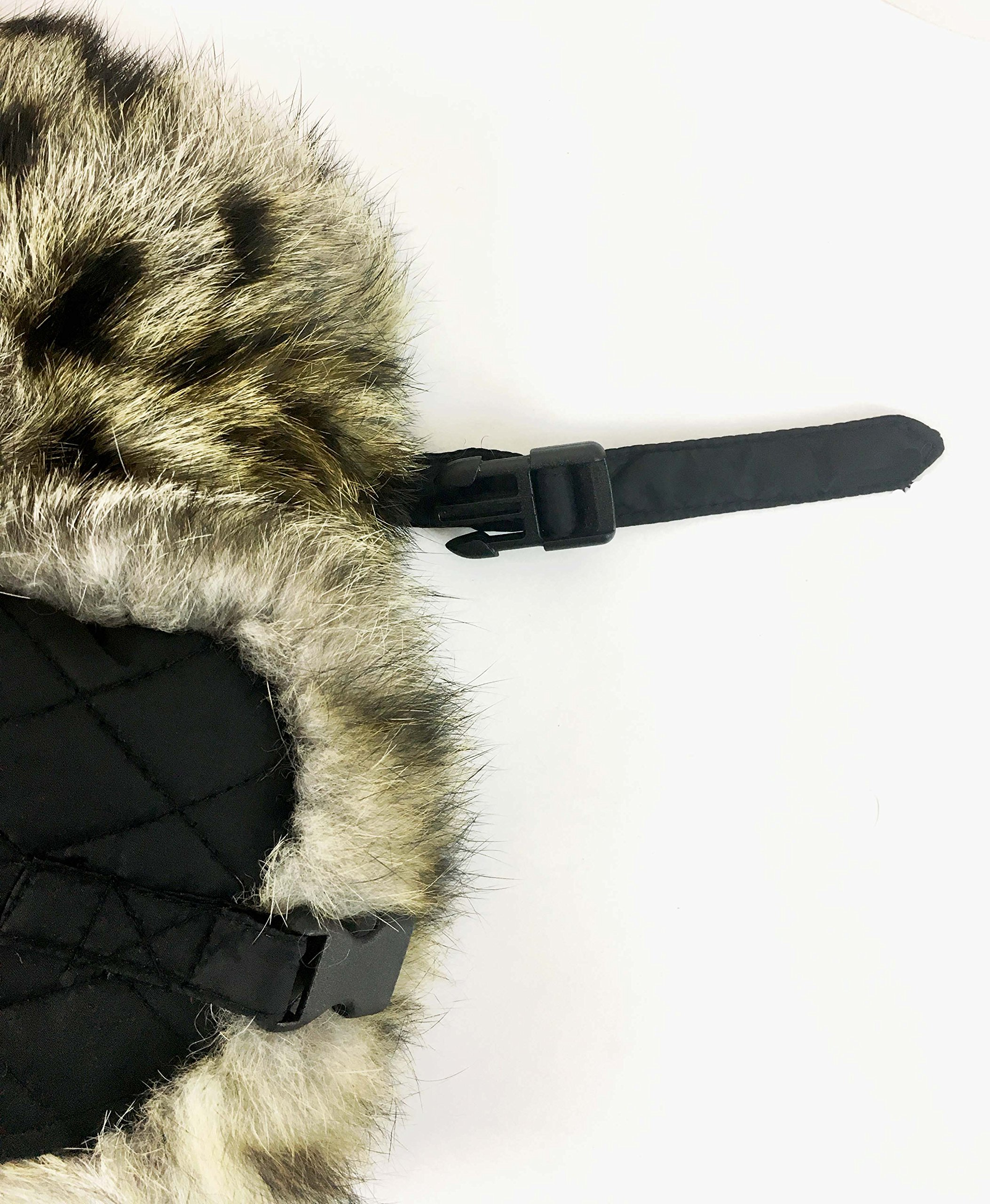 surell Trapper Aviator Hat with Rabbit Fur Trim - Warm Bomber Trooper Hat - Perfect Winter Luxury Gift (Leopard) by surell (Image #6)
