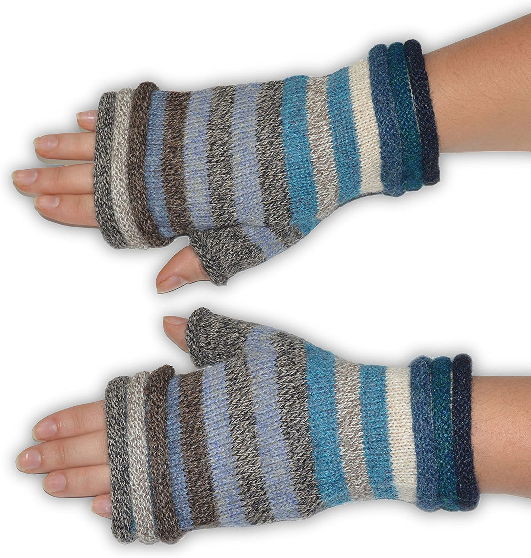 Invisible World Women's Alpaca Wool Fingerless Gloves Texting Typing Striper