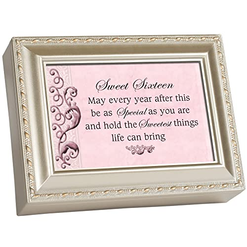 Cottage Garden Sweet Sixteen Champagne Silver Traditional Music Box Plays You Light Up My Life