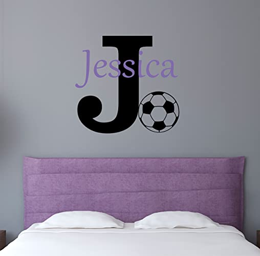 Custom name sports wall decal boys girls personalized name soccer sports wall sticker custom