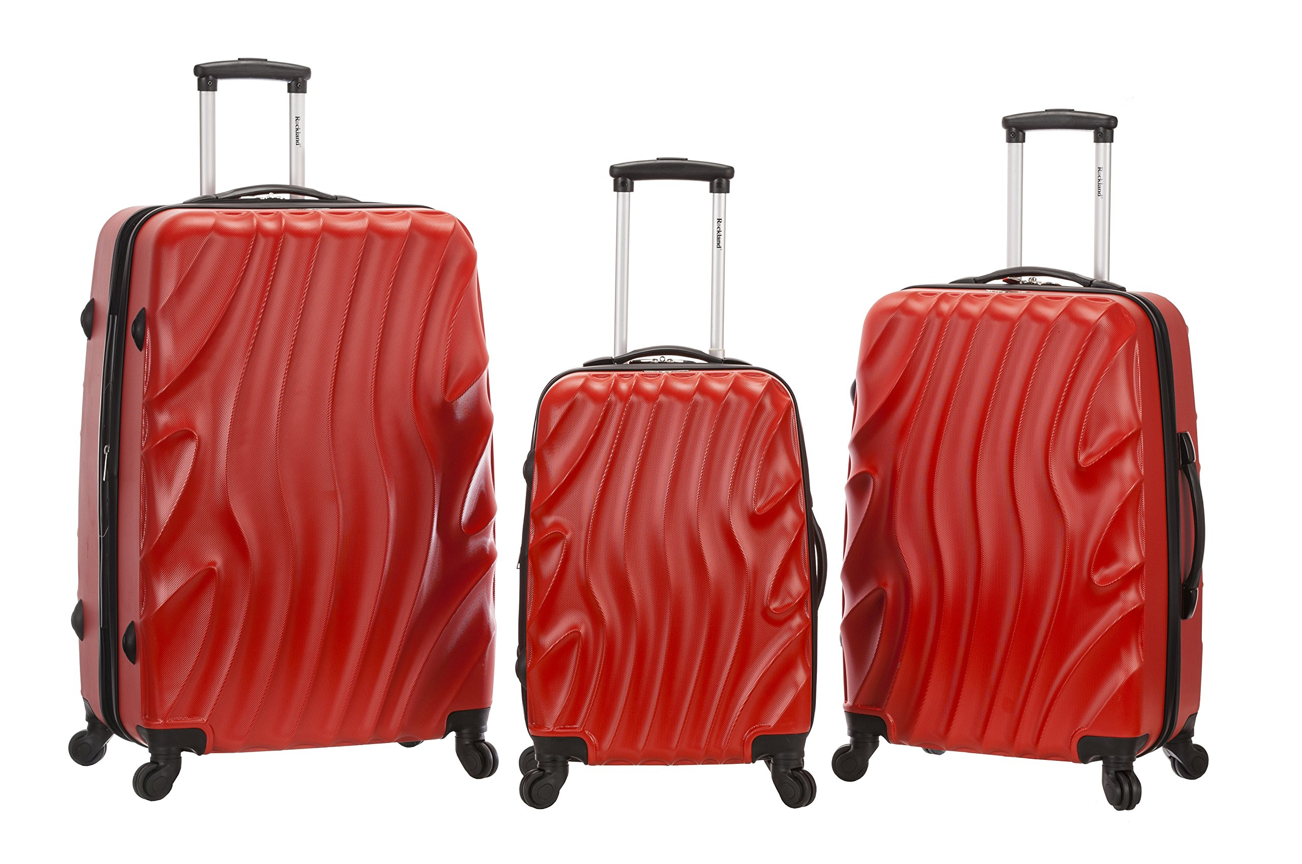Rockland Melbourne 3 Pc Abs Luggage Set, Redwave